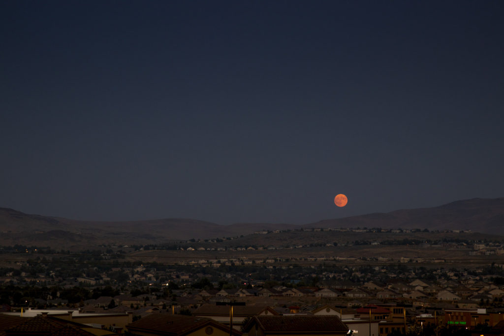 Moon Rising over Reno Nevada on the way to Burning Man