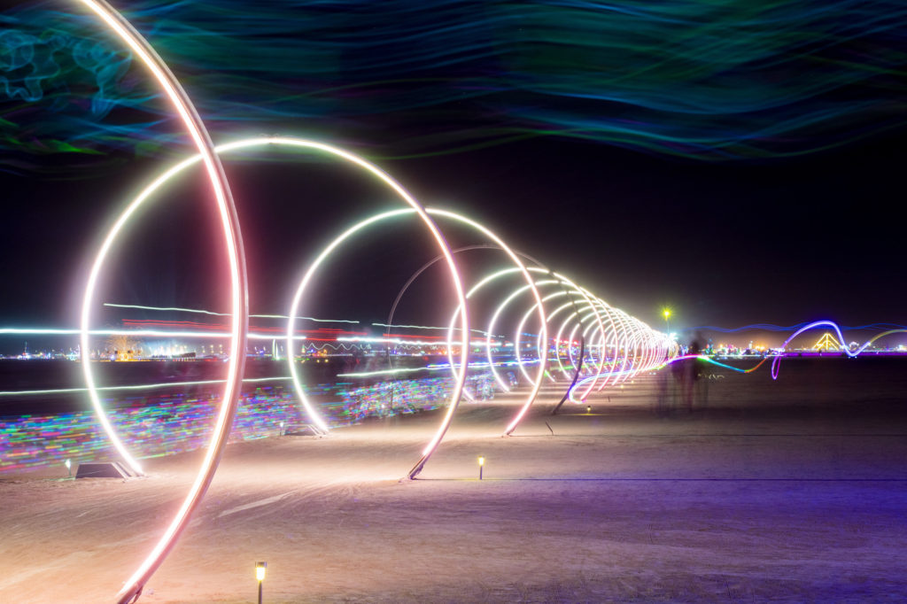 Nigh Time LED Rings at Burning Man