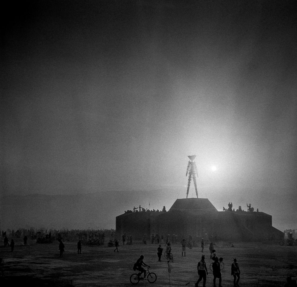 The Man on a dusty day at Burning Man