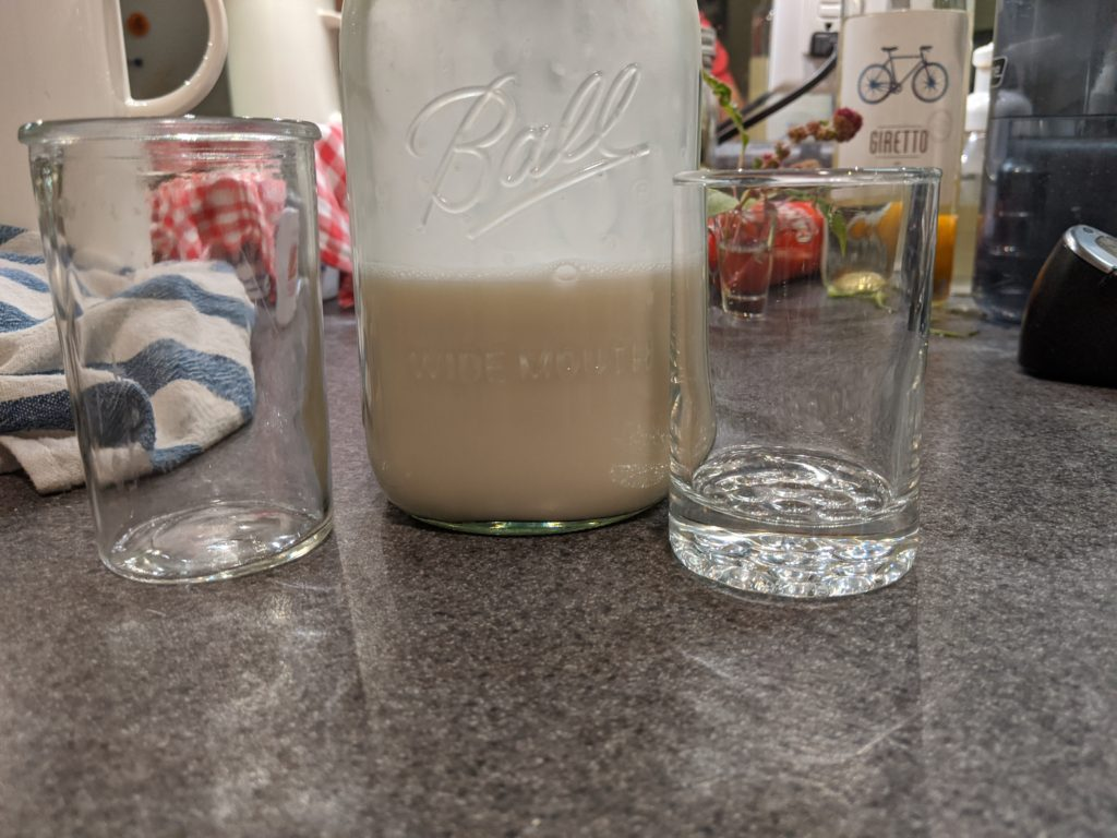 oat milk sample with cups